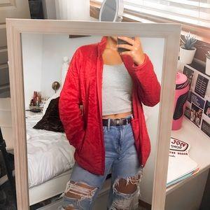 Red soft zip up